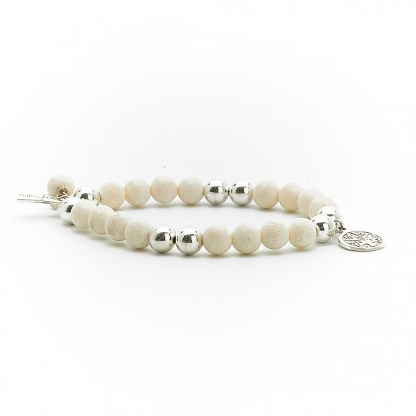 Perle de jade bracelet argent massif 925 lave blanche