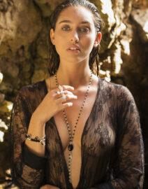 Bracelet Good Karma pierre de lave noire et argent massif Perle de Jade