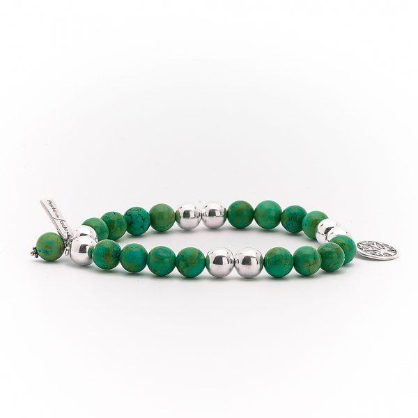"""Bracelet """"Good Karma"""" pierre de malachite et argent massif Perle de Jade"""