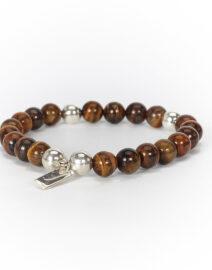 "Bracelet ""Good Karma"" œil de tigre et argent massif Perle de Jade"