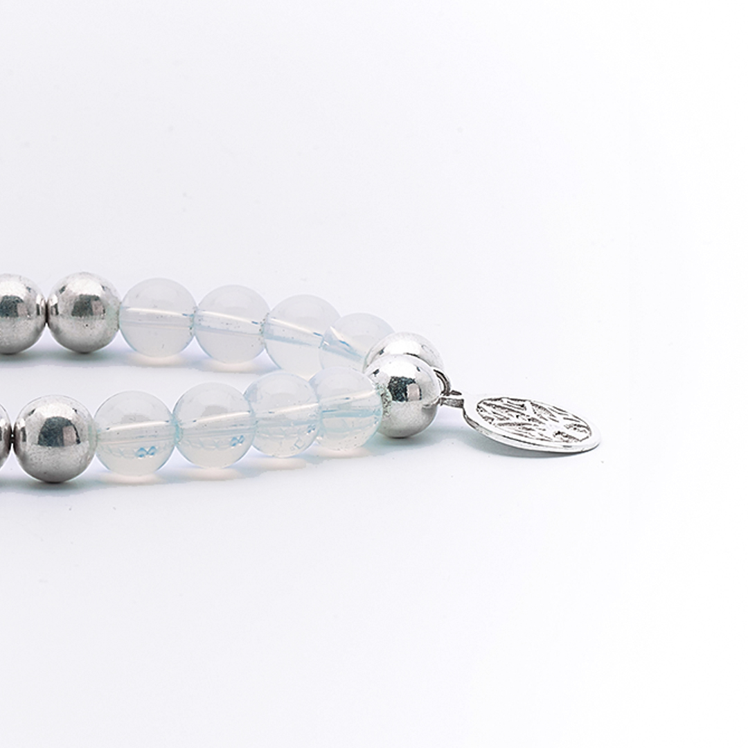 "Bracelet ""Good Karma"" pierre d'opaline et argent massif Perle de Jade"