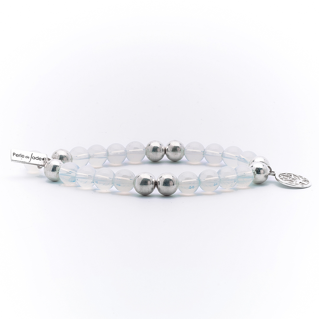 Bracelet élastique good karma opaline perle de jade