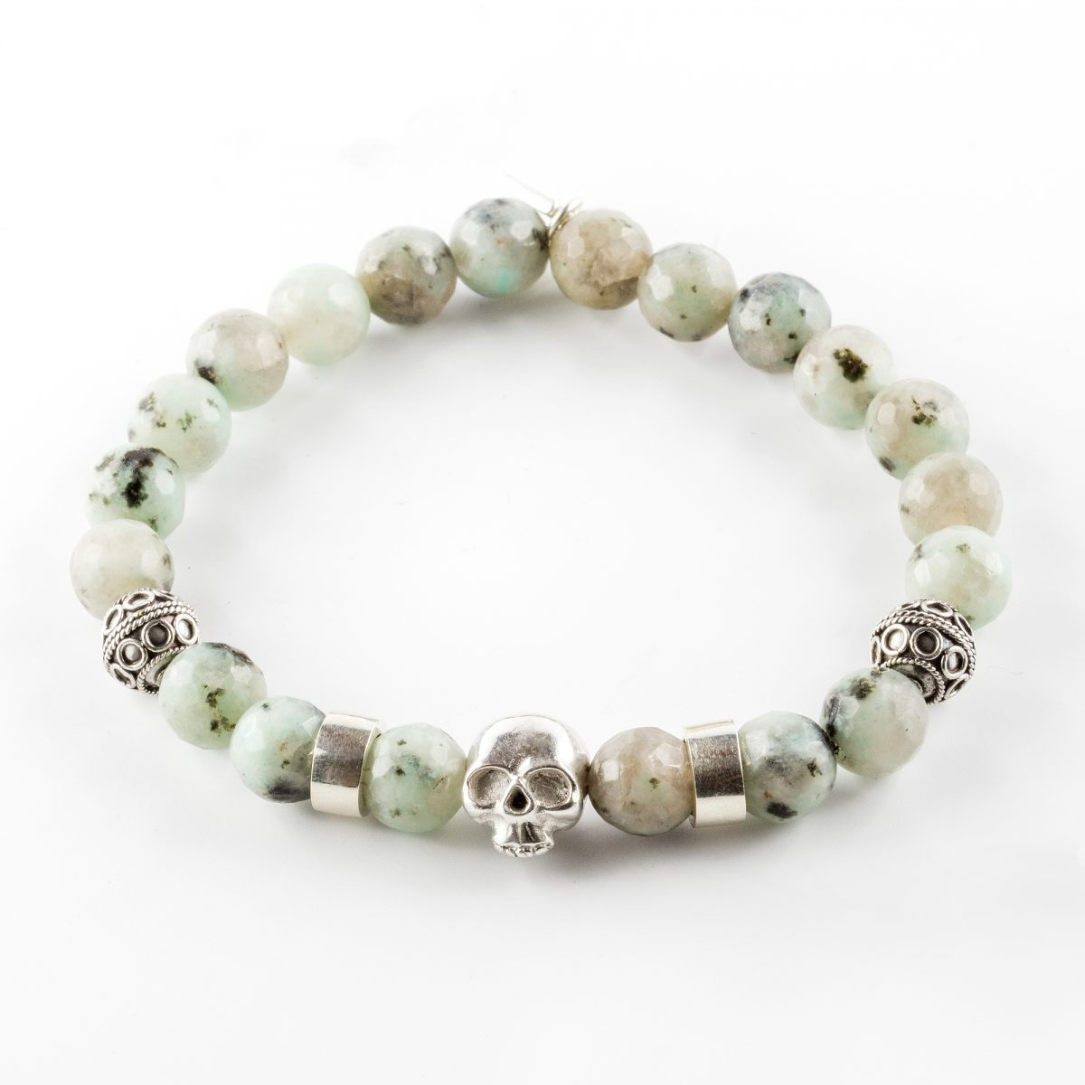 Silver and amazonite bracelet with skull