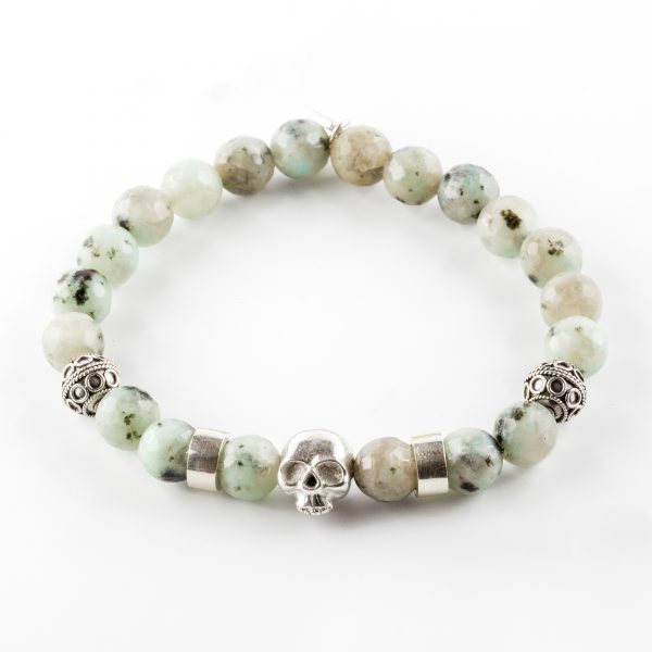 bracelet pierres d'aventurine et tête de mort perle de jade