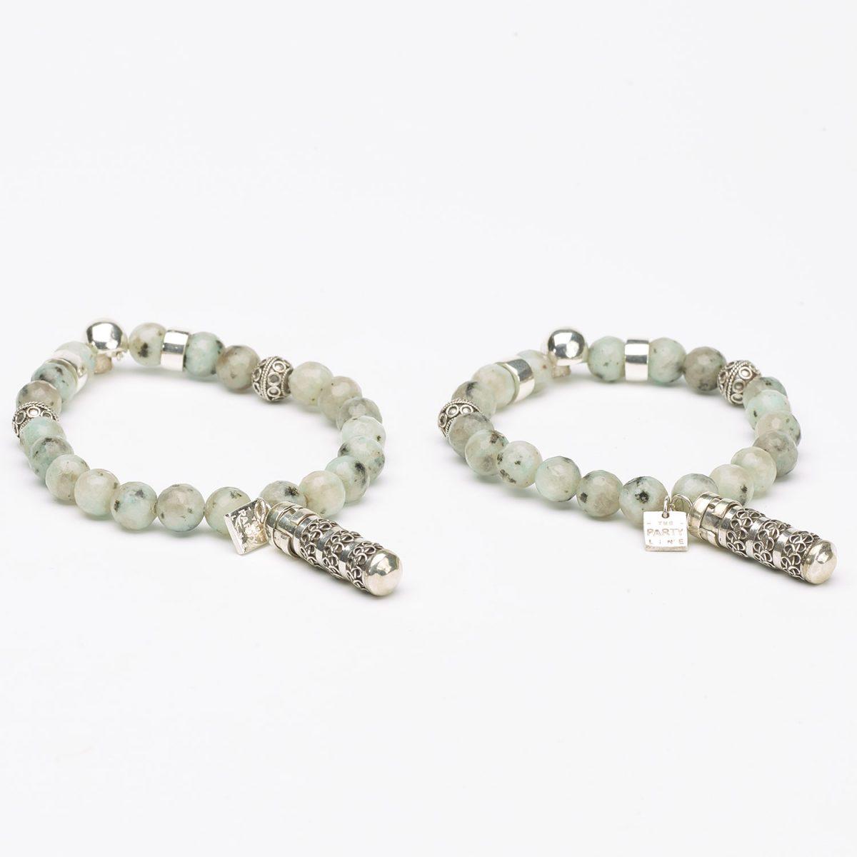 Bracelet argent massif-925 Perles amazonite - Perle de Jade