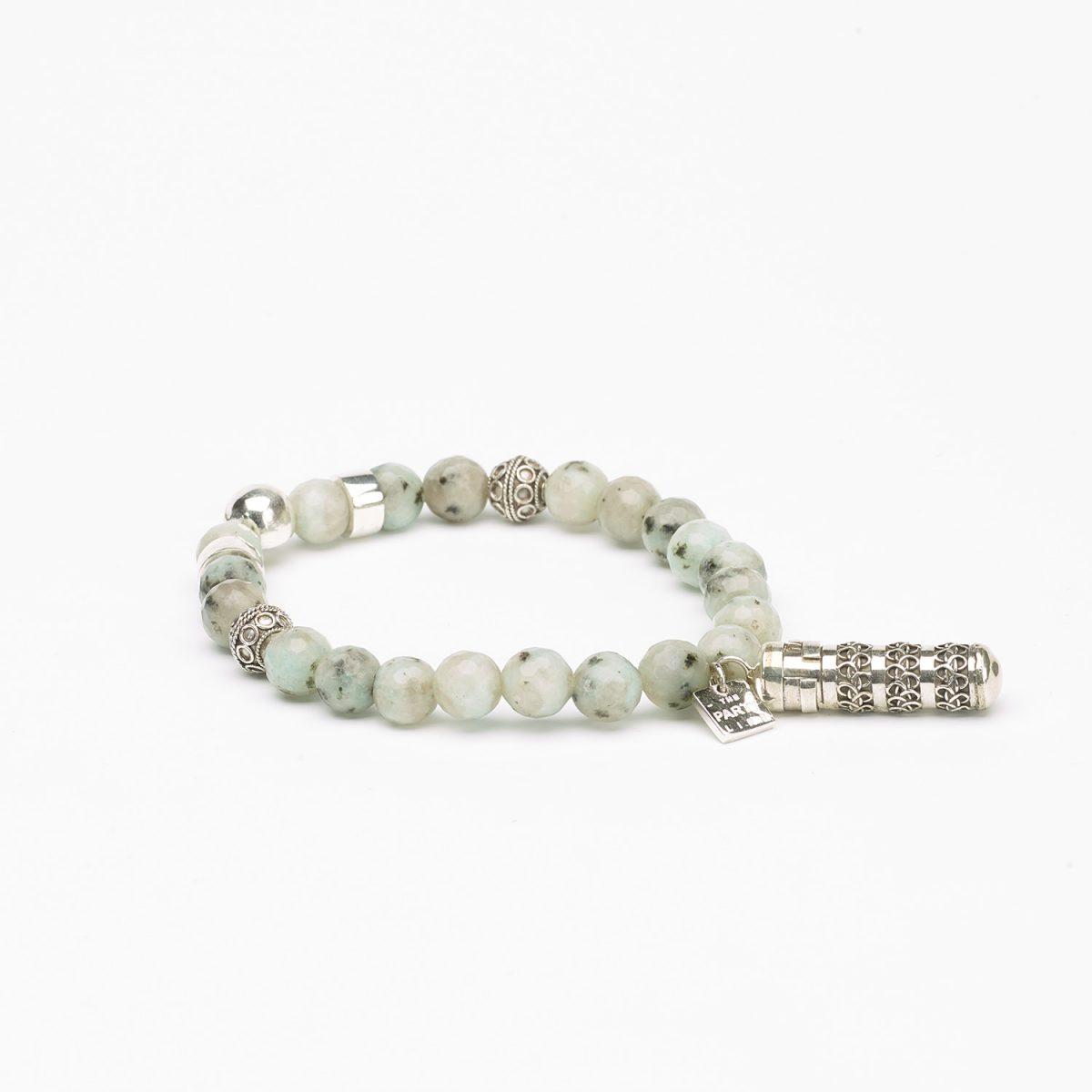 Bracelet argent massif 925 perles amazonite -  Perle de Jade