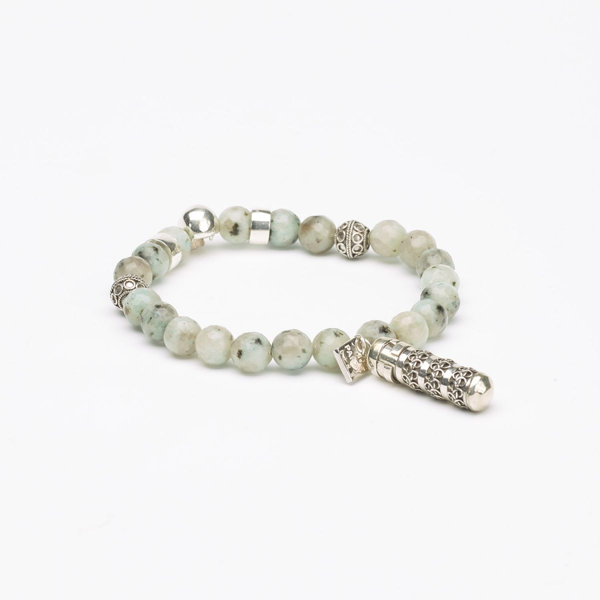Buddhist Bracelet with  Amazonite and a Secret box, in silver