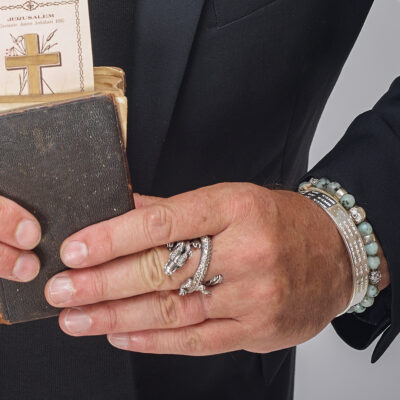 Bracelet pierre d'amazonite et argent massif (925) tête de mort Perle de Jade