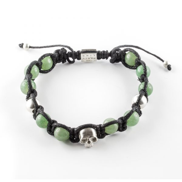 bracelet macramé en pierres d'aventurine perle de jade