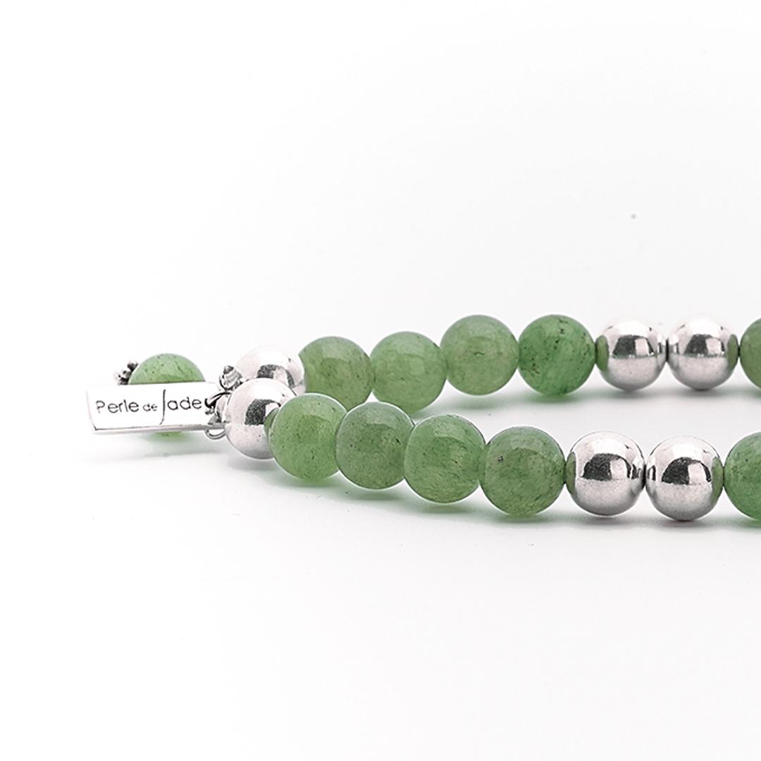 """Bracelet """"Good Karma"""" pierre de jade et argent massif Perle de Jade"""