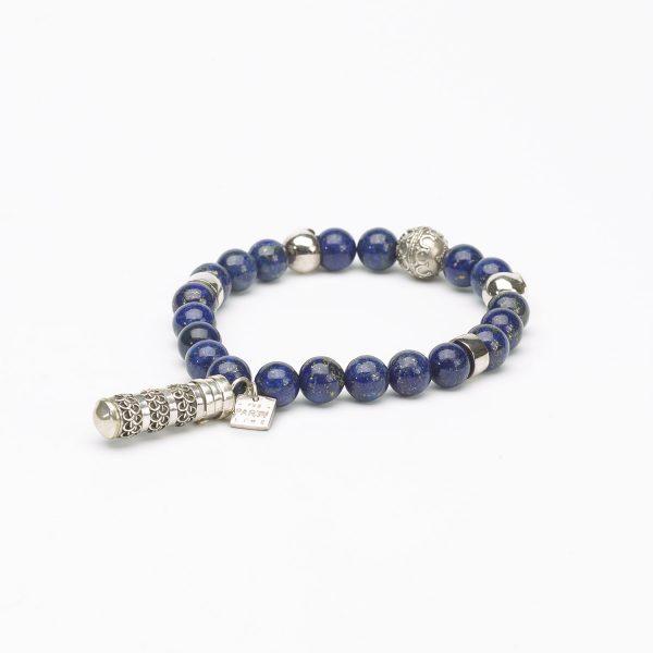 Bracelet bouddhiste pierre de lapis lazuli et argent 925 Perle de Jade - Bijoux femme et homme