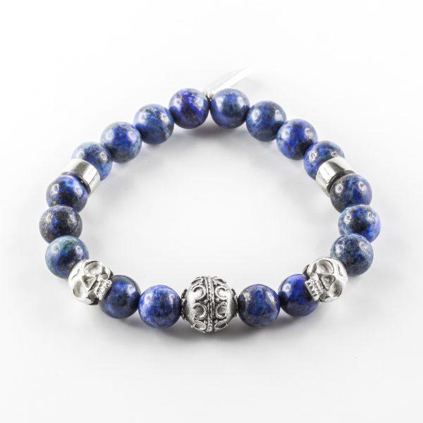 Bracelet pierre lapis-lazuli et argent massif (925) tête de mort Perle de Jade