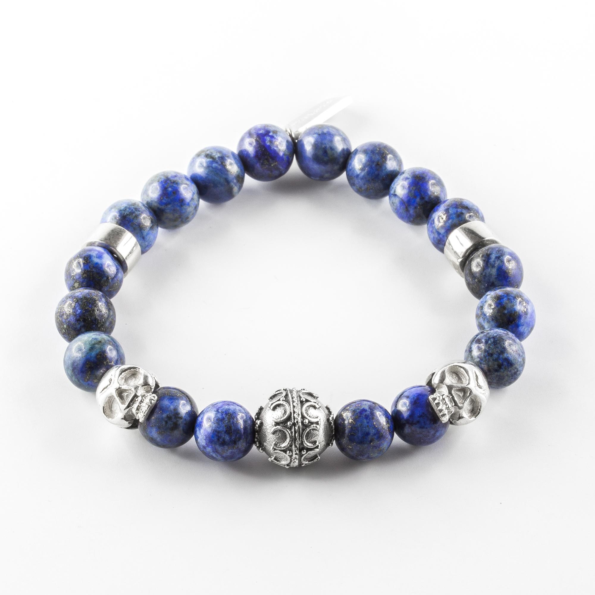 Bracelet pierres lapis-lazuli et argent massif (925) tête de mort Perle de Jade