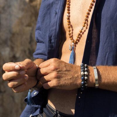 Bracelet bouddhiste pierre de lapis lazuli et argent 925 Perle de Jade