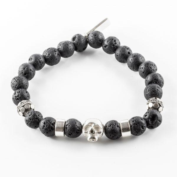 Bracelet pierre de lave noire et tête de mort en argent massif (925) Perle de Jade