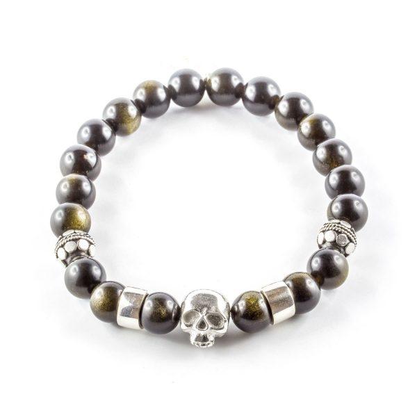 bracelet pierres d'obsidienne perle de jade