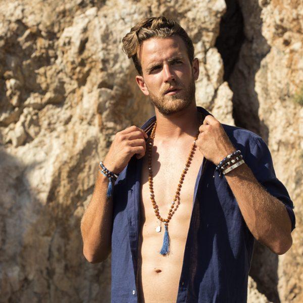 Bracelet bouddhiste perles d'obsidienne et argent 925 Perle de Jade Bijoux Homme