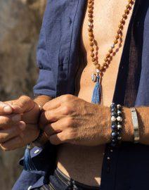 Bracelet bouddhiste perles d'obsidienne et argent 925 de la Maison Perle de Jade