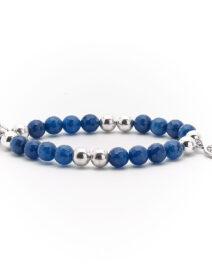 """Bracelet """"Good Karma"""" pierre de quartz bleu et argent massif Perle de Jade"""