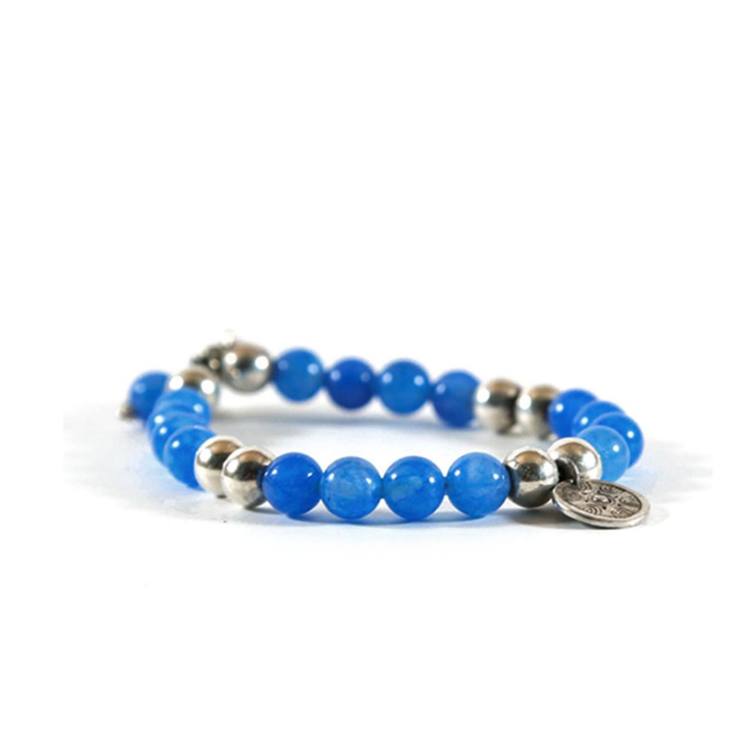 Bracelet élastique Good Karma pierre de quartz bleu perle de jade