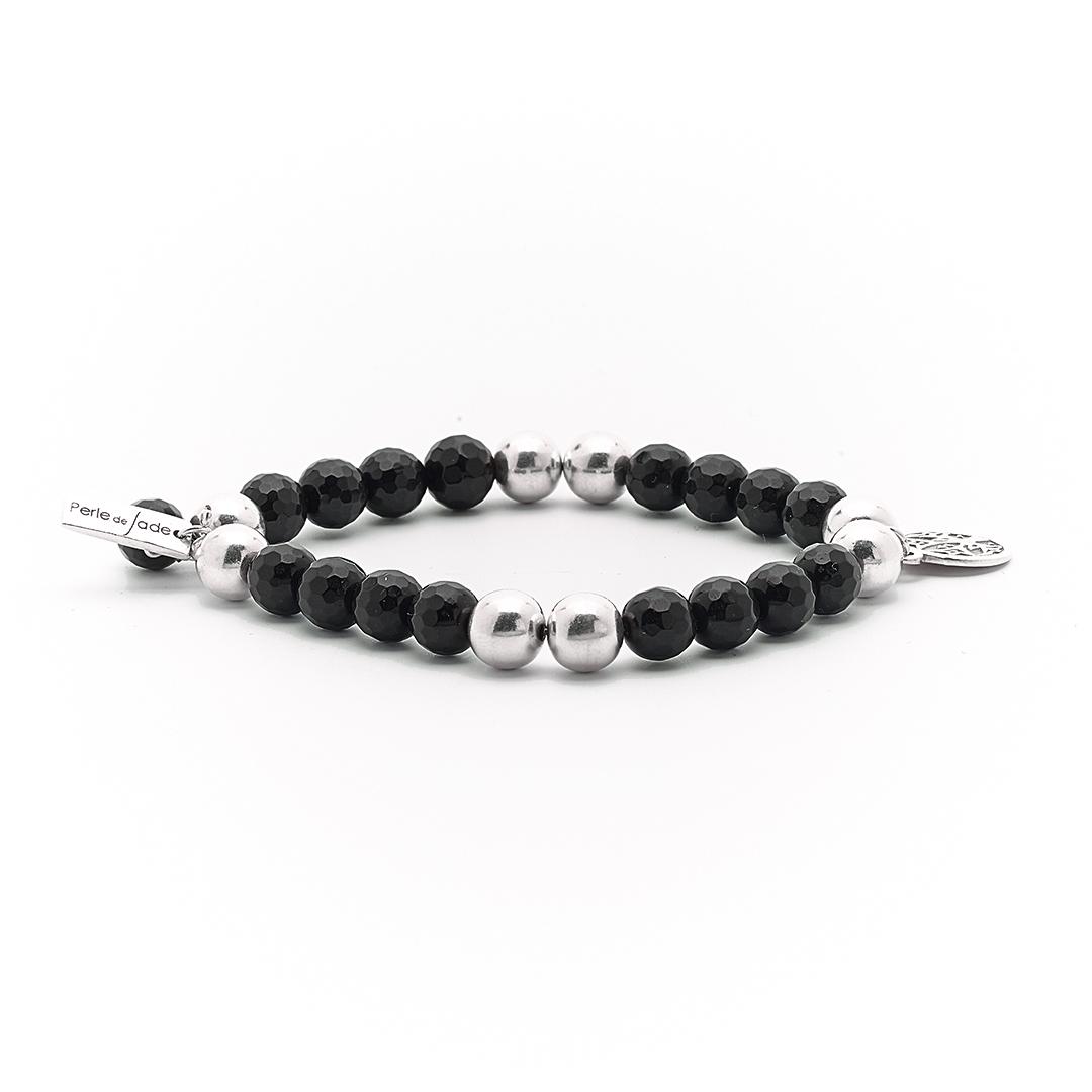 Bracelet élastique Good Karma pierre de quartz noir Perle de Jade