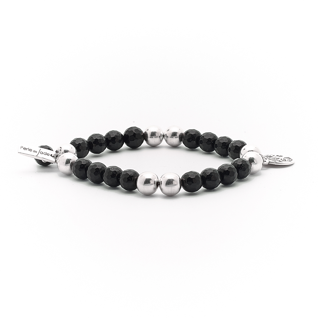 """Good Karma"" Bracelet with black quartz and silver"