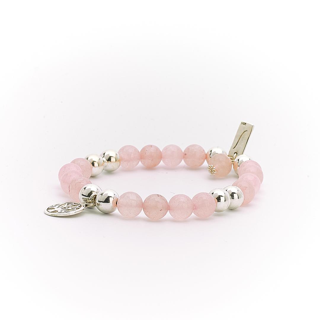 """Bracelet """"Good Karma"""" pierre de quartz rose et argent massif Perle de Jade"""