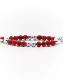 """Bracelet """"Good Karma"""" pierre de quartz rouge et argent massif Perle de Jade"""