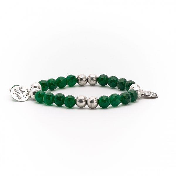 Perle de Jade bracelet argent massif 925 quartz vert