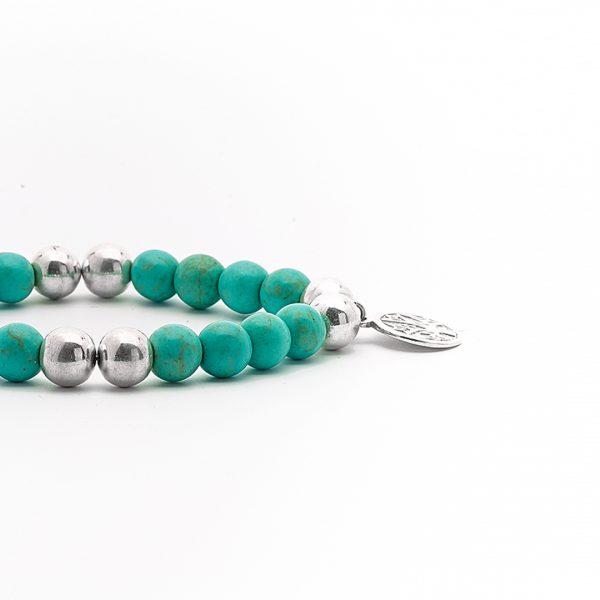 Perle de Jade bracelet argent massif 925 turquoise-verte