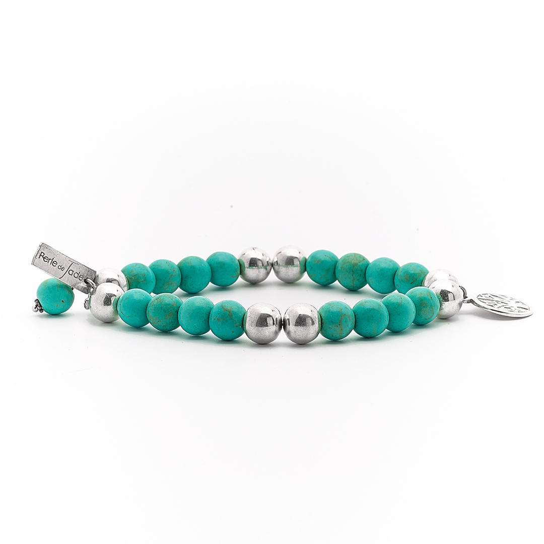 """""""Good Karma""""Bracelet with Green Turquoise and silver"""
