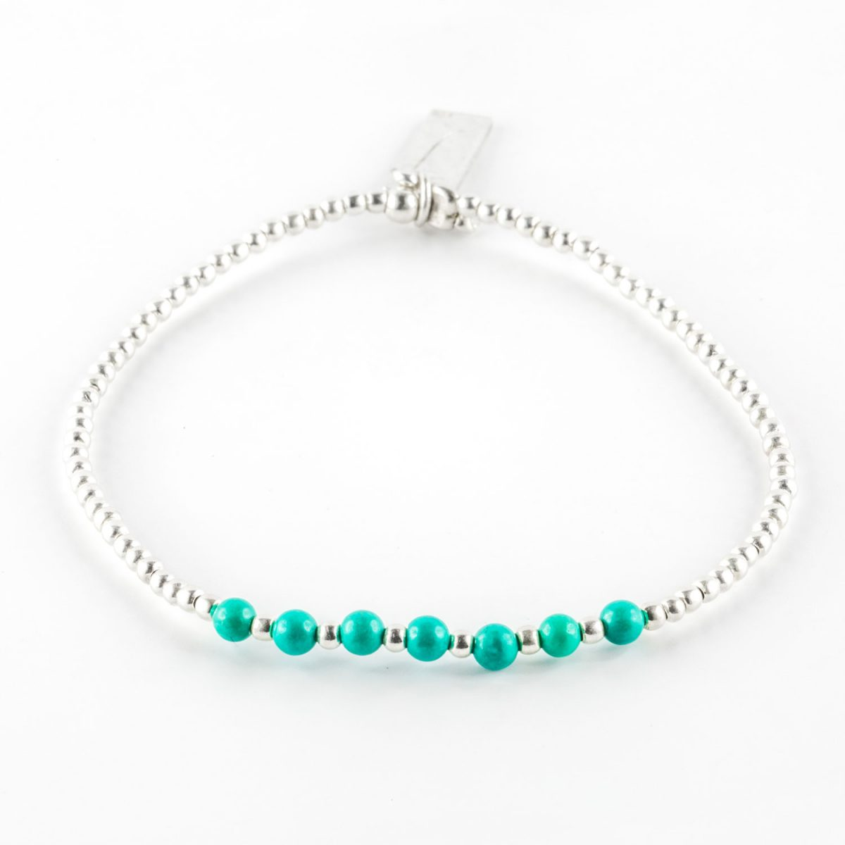 Elastic Bracelet And Solid Silver Beads And 7 Turquoise Beads