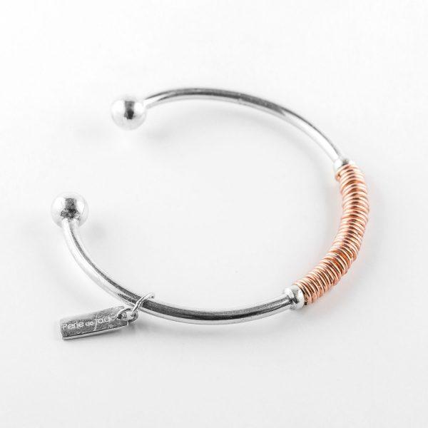 Bracelet Perle de Jade en argent massif (925) et cuivre non fermé