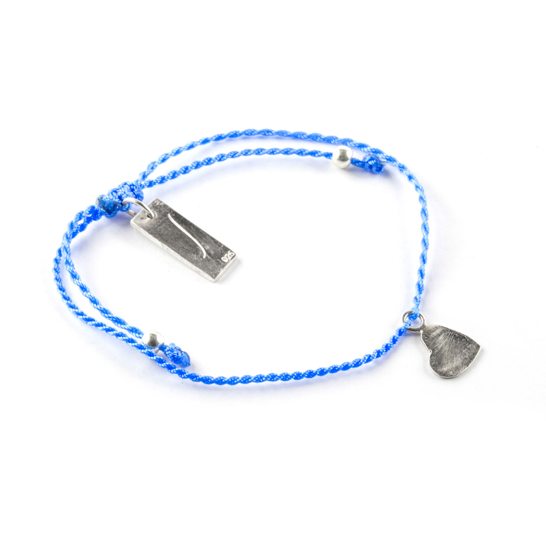 Perle de Jade bracelet enfant fil bleu avec charme coeur en argent massif (925)