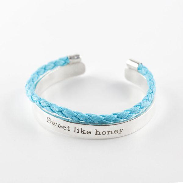 Perle de Jade bracelet en cuir bleu et argent massif (925)
