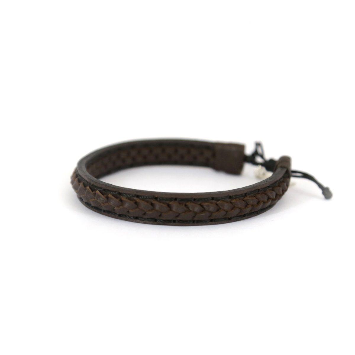 Bracelet en cuir véritable Deana et argent massif 925 - créateur de bijoux Perle de Jade