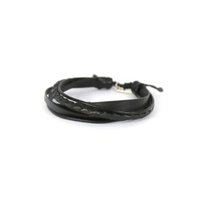 Bracelet en cuir et argent massif 925 Perle de Jade - Bijou pour homme