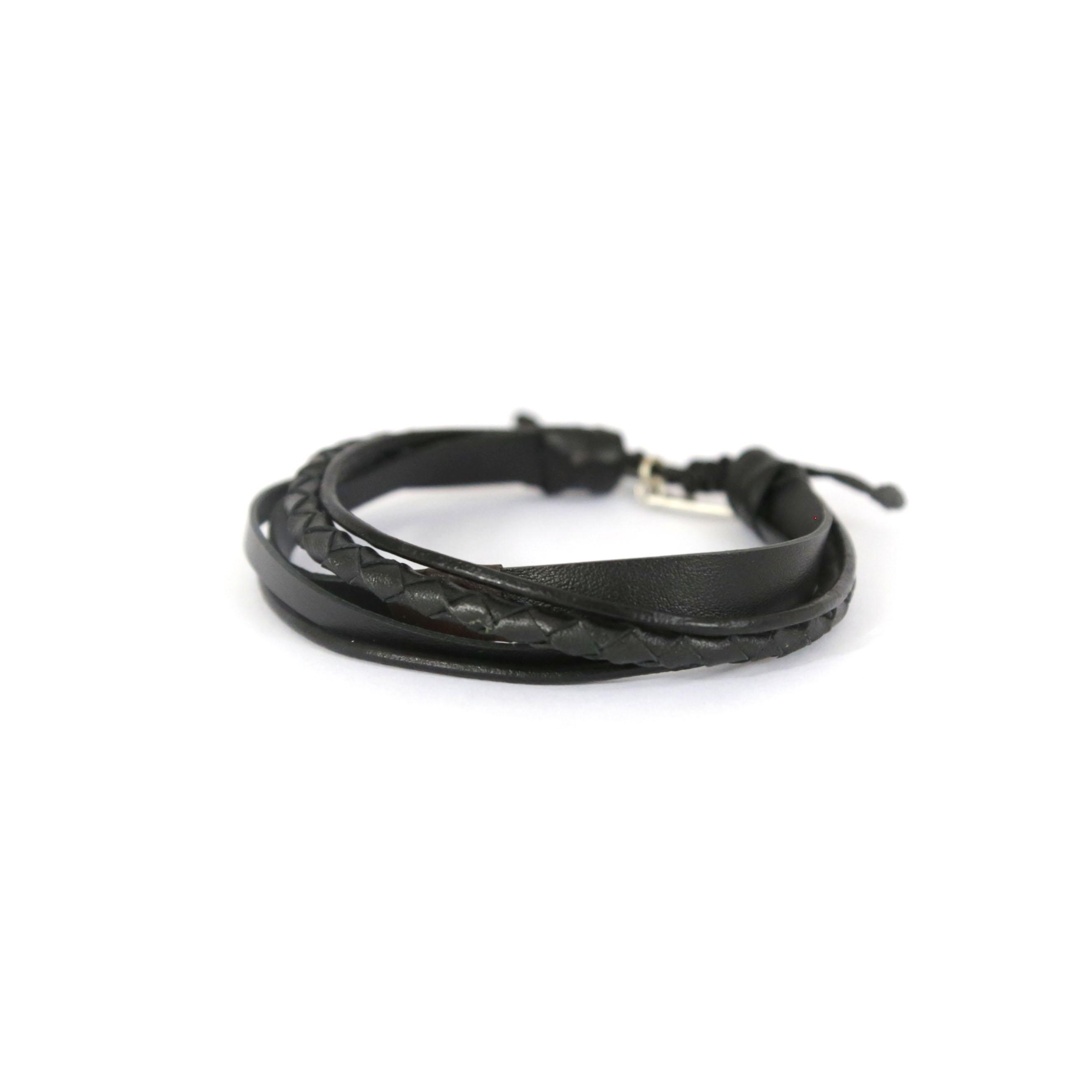 bracelet homme en cuir noir perle de jade