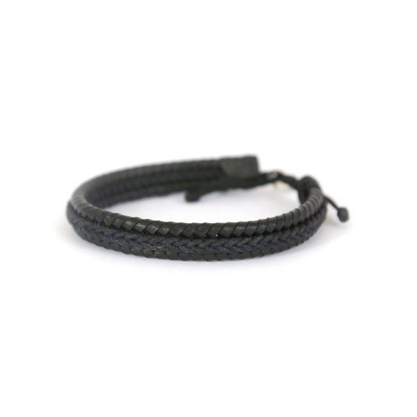Bracelet en cuir et argent massif 925 Perle de Jade - bijou chic homme