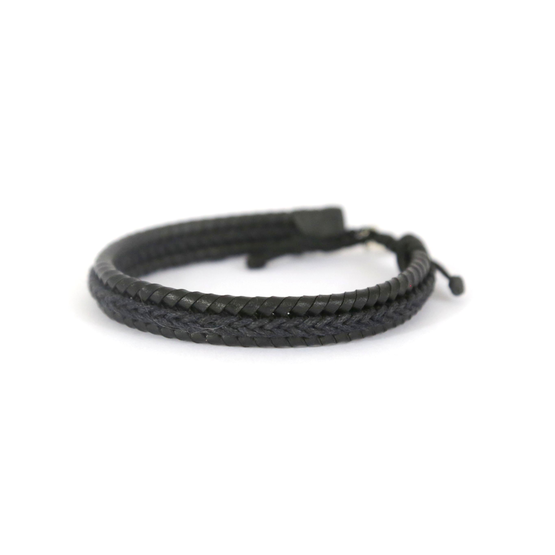 Bracelet homme cuir noir et argent massif 925 Perle de Jade - bijou chic homme