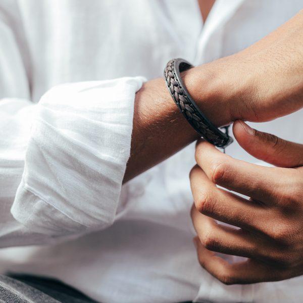 Bracelet en cuir naturel - Perle de Jade