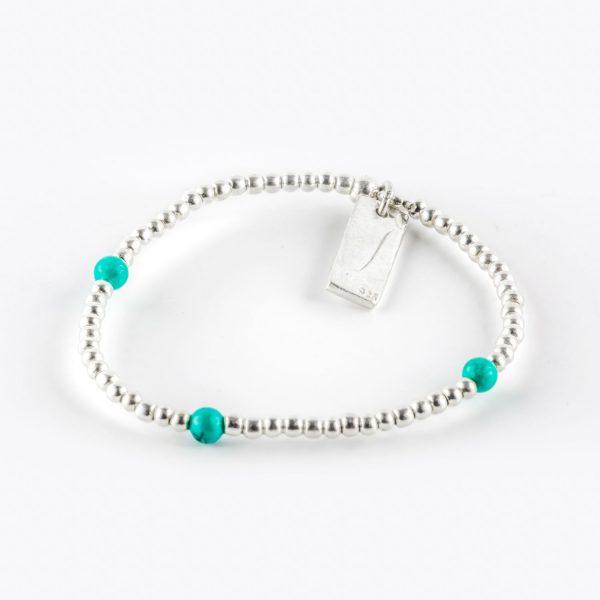 Perle de Jade bracelet élastique enfant argent massif (925) et 3 perles de turquoise
