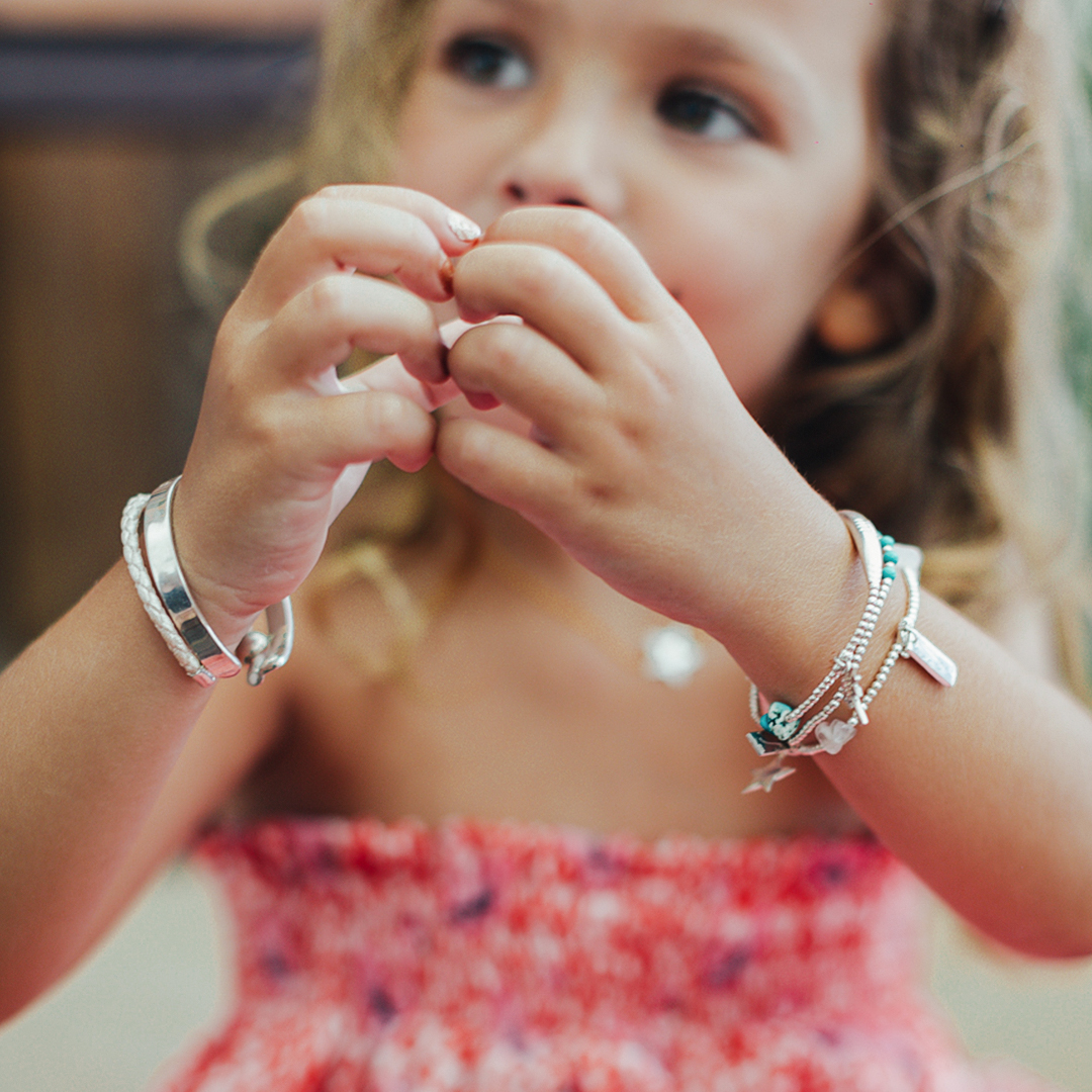 Perle de Jade bracelet élastique enfant argent massif (925) et perles de turquoise