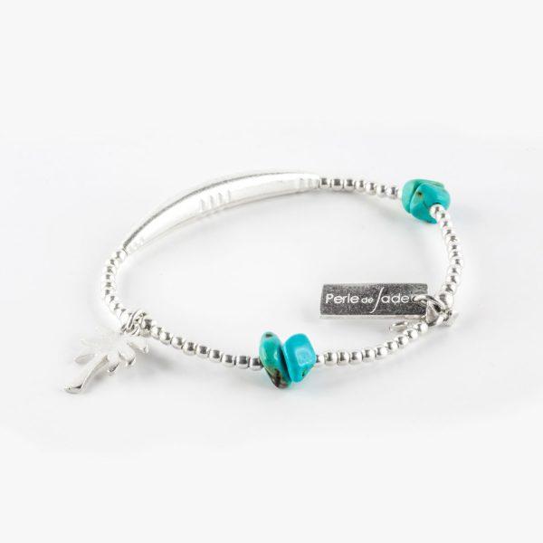 bracelet élastique turquoise perle de jade