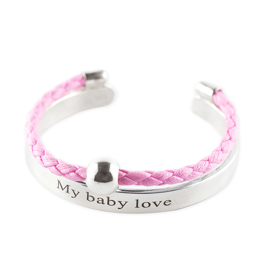 """Child's """"My Baby Love"""" bangle in silver with pink leather cord"""
