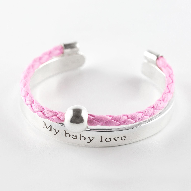 Perle de Jade bracelet enfant cuir rose et argent massif (925) gravé My baby love