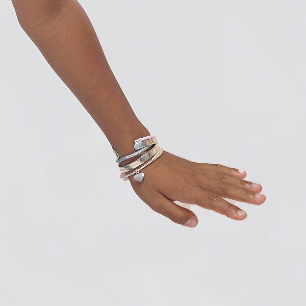 Perle de Jade bracelet enfant en argent massif (925) et cuir gris avec perle d'argent