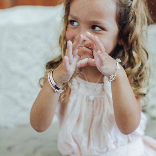 Perle de Jade bracelet enfant en argent massif (925) et cuir rose