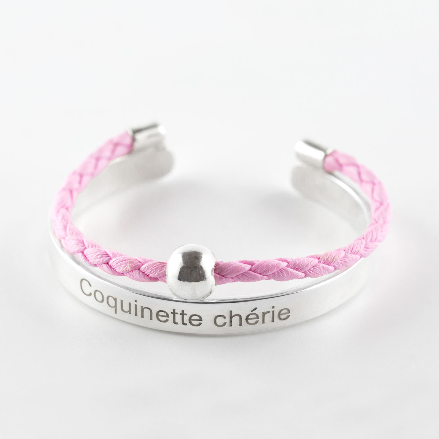 Child's « Coquinette chérie » (Darling little monkey) bangle in silver with pink leather cord