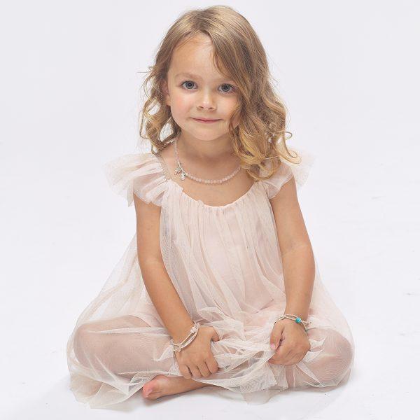 Perle de Jade bracelet élastique enfant argent et quartz rose Sweetheart